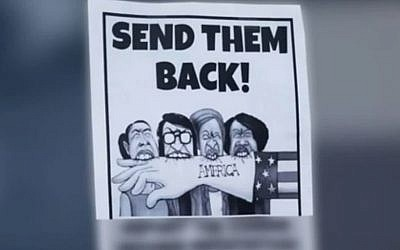 This flier targeting Democratic lawmakers was found posted at several Seattle synagogues as well as churches. (Q13Fox)