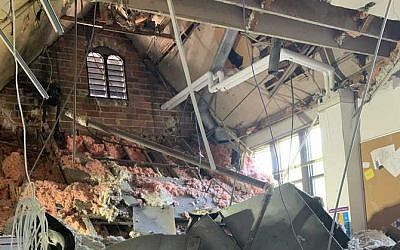 The inside of the Milwaukee Jewish Day School after its roof collapsed on August 23, 2019. (North Shore Fire Department)