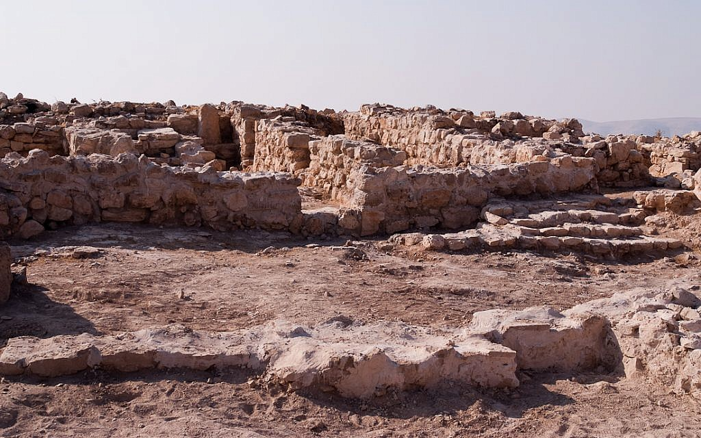 Moabite sanctuary and stepped structure at the Khirbat Ataruz site in central Jordan. (Courtesy)