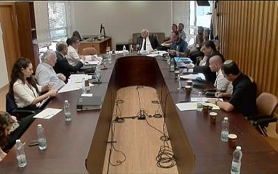 Central Elections Committee chairman Judge Hanan Melcer (seated at far end) listens to arguments for and against the NGO Darkenu registering as a political body.  Darkenu representatives sit on the right, Likud lawyers on the left, at the Knesset, August 5, 2019. (Screenshot)
