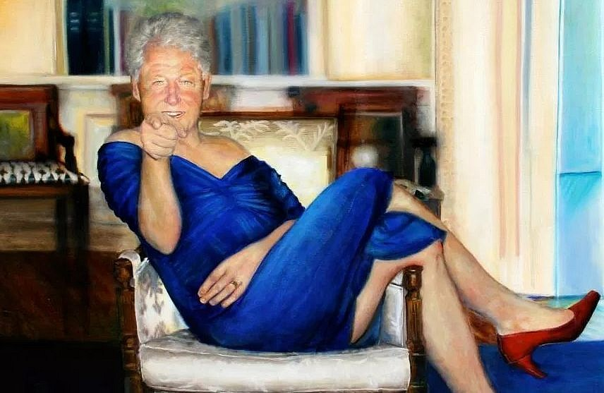 Image result for image of bill clinton blue dress