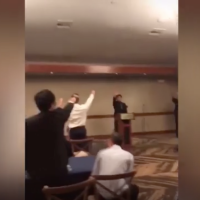 Members of the boys' water polo team at Pacifica High School in Garden Grove, California, give a Nazi salute in a video from 2018. (Instagram/Daily Beast/via JTA)