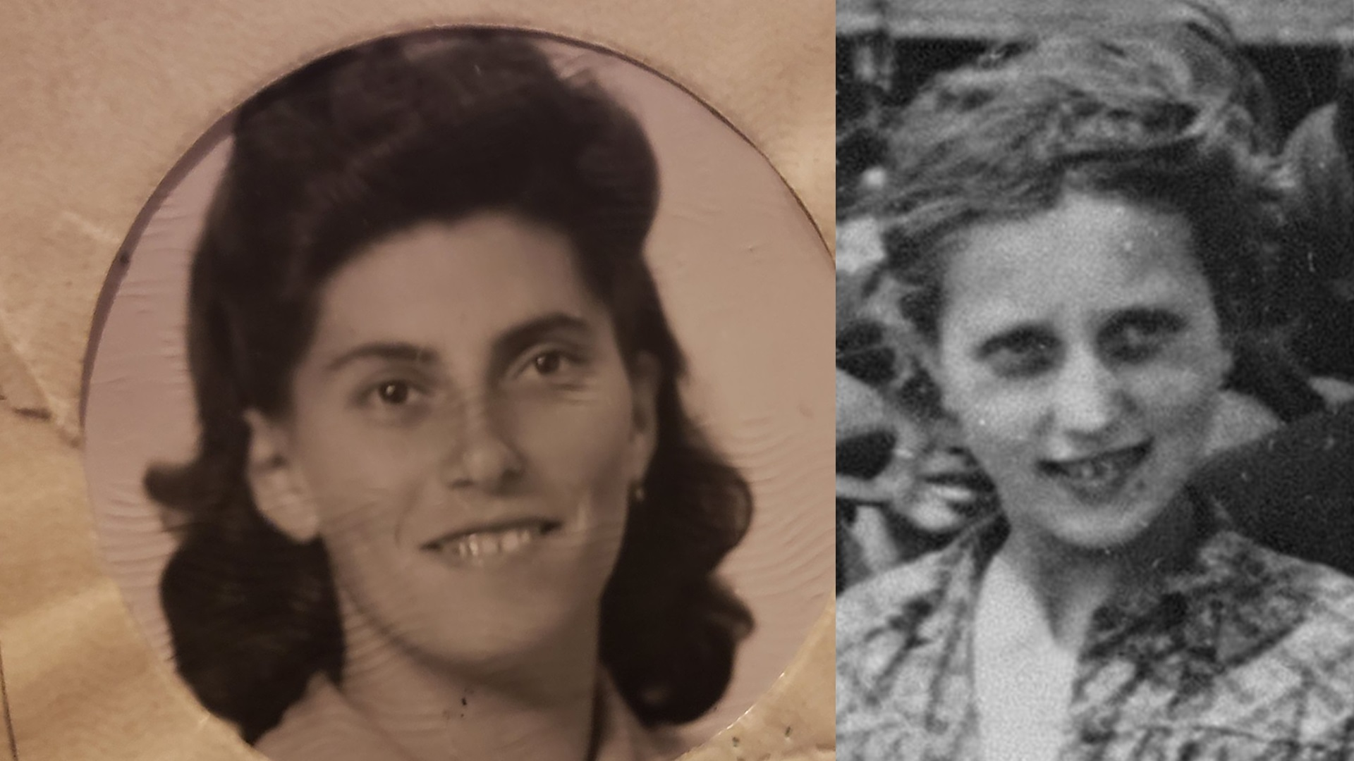 Bella (Baila) Solomon after the war (left) and in 'The Auschwitz Album,' May 1944