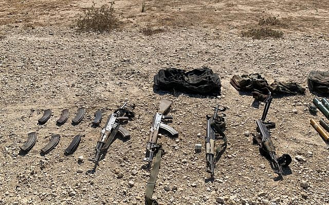 A collection of AK-47s carried by four Palestinians who attempted to infiltrate into Israel through the border fence with Gaza, August 10, 2019. (Israel Defense Forces)
