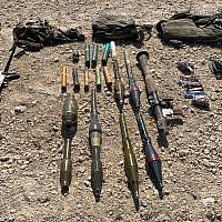 This photo shows RPGs and other weapons carried  by four Palestinians who attempted to infiltrate into Israel through the border fence with Gaza, August 10, 2019. (Israel Defense Forces)