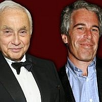 Leslie Wexner, left, and Jeffrey Epstein. (Laura E. Adkins/Getty Images via JTA)