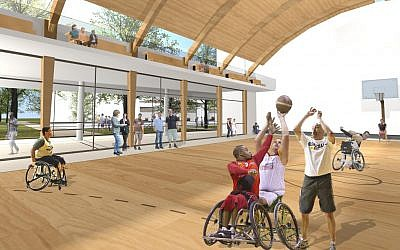 An illustration of the sports center that will be part of Israel's new rehab hospital in the ALEH Negev-Nahalat Eran 2007 village (ALEH)