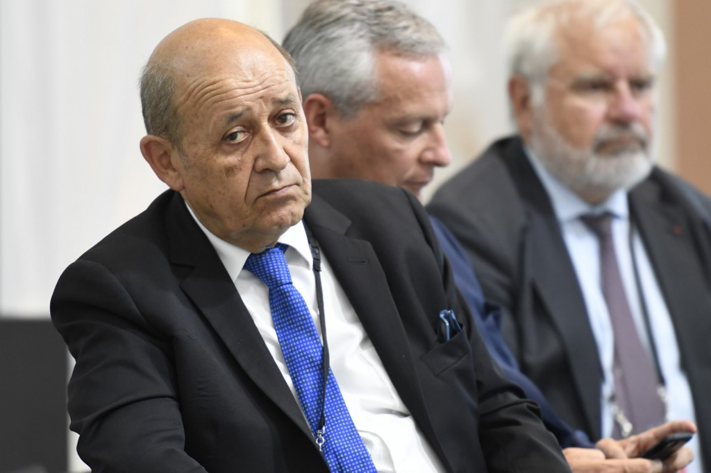French Foreign Affairs Minister Jean Yves Le Drian attends a French president's press conference in Biarritz southwest France