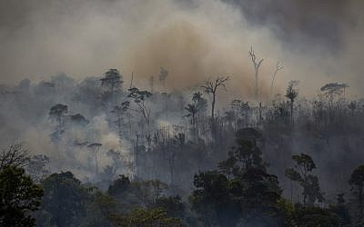 Smokes rises from forest fires in Altamira, Para state, Brazil, in the Amazon basin, on August 27, 2019. (Joao Laet / AFP)