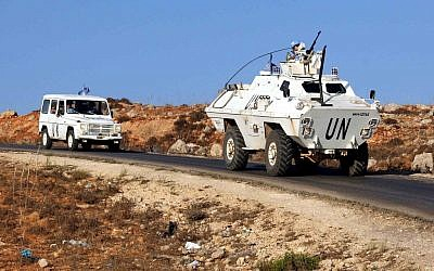 Vehicles of a convoy of United Nations Interim Forces in Lebanon (UNIFIL) on a road along the border between Lebanon and Israel near the southern Lebanese town of Kfar Kila on September 1, 2019. (Ali DIA / AFP)