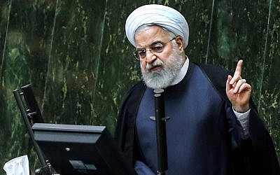 Iran's President Hassan Rouhani speaks at parliament in the capital Tehran on September 3, 2019. (Atta Kenare/AFP)