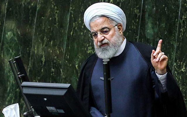Iran's President Hassan Rouhani speaks at parliament in the capital Tehran on September 3, 2019. (ATTA KENARE / AFP)