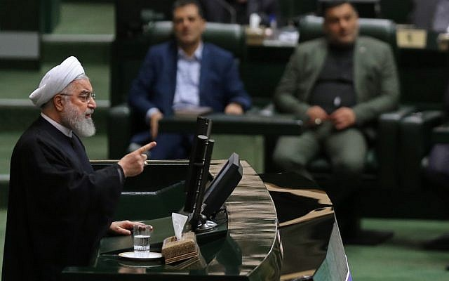 Iran's President Hassan Rouhani (L) addresses parliament in the capital Tehran on September 3, 2019. (ATTA KENARE / AFP)