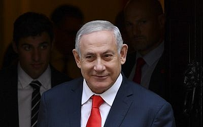 Prime Minister Benjamin Netanyahu leaves 10 Downing Street in London on September 5, 2019, after a meeting with Britain's Prime Minister Boris Johnson. (Daniel Leal-Olivas/AFP)