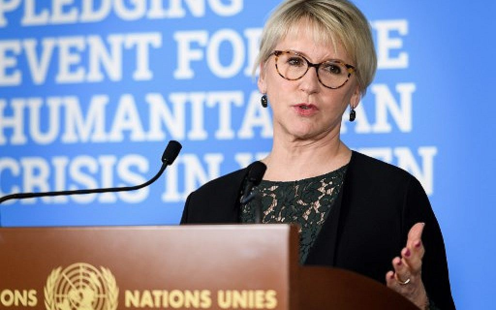 Swedish FM Wallstrom, who recognized Palestinian state, to resign
