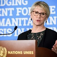In this file photo taken on February 26, 2019 Swedish Foreign Minister Margot Wallstrom speaks during a press conference following a pledging conference for the humanitarian crisis in Yemen at the United Nations offices in Geneva. (Fabrice Coffrini/AFP)