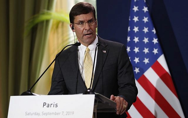 US Secretary of Defense Mark Esper (L) holds a press conference with his French counterpart at the French defense ministry in Paris on September 7, 2019. (Zakaria Abdelkafi/AFP)
