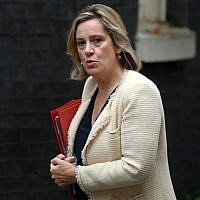 In this file photo taken on September 4, 2019 Britain's Work and Pensions Secretary and Women's minister Amber Rudd arrives to attend a meeting of the Cabinet at 10 Downing Street in central London. (DANIEL LEAL-OLIVAS / AFP)
