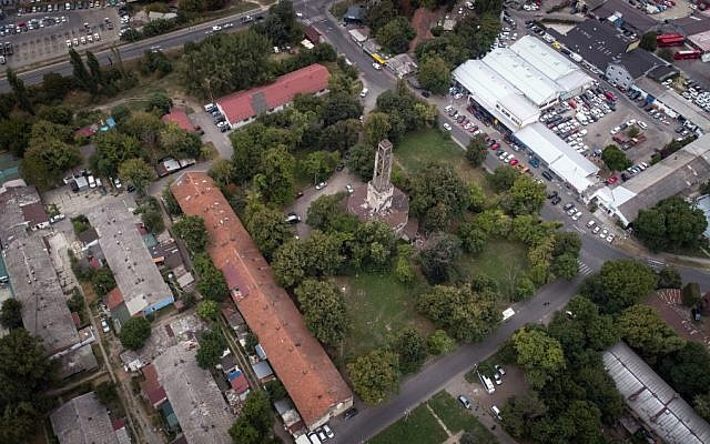 An aerial picture taken on September 3, 2019 shows the location of a former Nazi camp, known as 'Staro Sajmiste' in Belgrade, used as a concentration camp during the Nazi occupation of Serbia of the World War II. (OLIVER BUNIC/AFP)