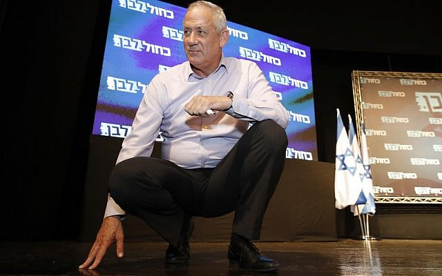 Blue and White chairman Benny Gantz listens to a question during a campaign event in Haifa on September 8, 2019. (JACK GUEZ/AFP)