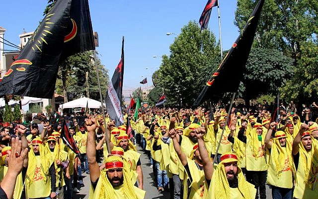 Hezbollah supporters take part in a procession on the tenth day of Muharram which marks the day of Ashura, on September 10, 2019 in Baalbek, Lebanon. (Stringer/AFP)