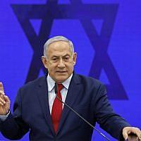 Prime Minister Benjamin Netanyahu in Ramat Gan on September 10, 2019. (Menahem Kahana/AFP)