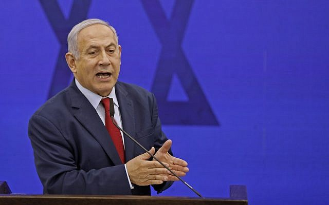 Israeli Prime Minister Benjamin Netanyahu gives a statement in Ramat Gan on September 10, 2019. (Menahem KAHANA / AFP)