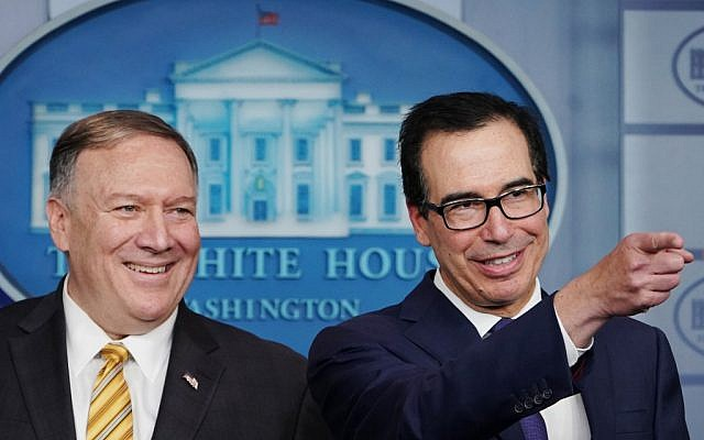US Secretary of State Mike Pompeo and Treasury Secretary Steven Mnuchin brief the media on September 10, 2019, at the White House in Washington, DC. (MANDEL NGAN / AFP)