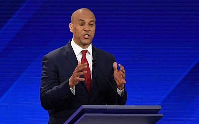 New Jersey Senator Cory Booker speaks during the third Democratic presidential primary debate at Texas Southern University in Houston, Texas, on September 12, 2019. (Robyn Beck/AFP)