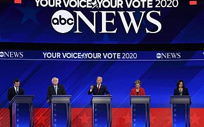 Democratic presidential hopefuls (L-R) Mayor of South Bend, Indiana, Pete Buttigieg, Senator of Vermont Bernie Sanders, Former Vice President Joe Biden, Senator of Massachusetts Elizabeth Warren and Senator of California Kamala Harris speak during the third Democratic primary debate of the 2020 presidential campaign season hosted by ABC News in partnership with Univision at Texas Southern University in Houston, Texas on September 12, 2019. (Robyn BECK / AFP)