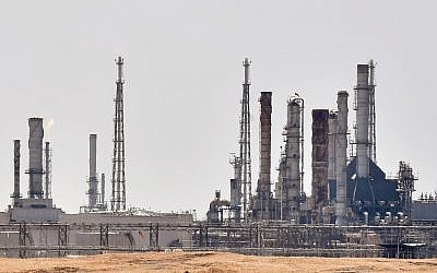 An Aramco oil facility near al-Khurj area, just south of the Saudi capital Riyadh,  September 15, 2019. (FAYEZ NURELDINE/ AFP)