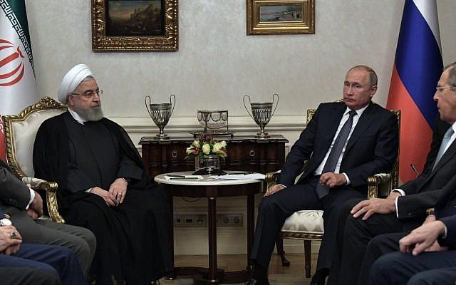 Russian President Vladimir Putin, right, meets with Iranian President Hassan Rouhani in Ankara on September 16, 2019. (Alexey NIKOLSKY/SPUTNIK/AFP)