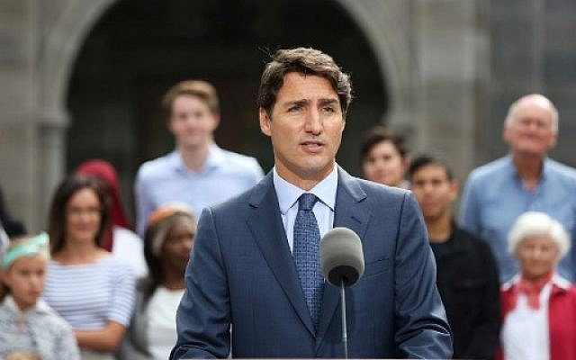 In this file photo taken on September 11, 2019 Liberal Party leader and Canada's Prime Minister Justin Trudeau speaks during a news conference at Rideau Hall in Ottawa. (Dave Chan / AFP)