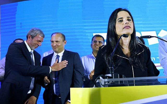 Ayelet Shaked (R), leader and candidate of the New Right party that is part of the Yamina alliance, speaks at Yamina headquarters in Ramat Gan on September 17, 2019, as the first exit polls are announced on television. (GIL COHEN-MAGEN / AFP)