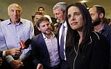 Ayelet Shaked (R), leader of the New Right party that is part of the Yamina political alliance, flanked by Jewish Home candidate Moti Yogev (L), National Union party leader Bezalel Smotrich (2nd-L), and Jewish Home party leader Rafi Peretz (C) at the alliance's headquarters in Ramat Gan, September 17, 2019. (Gil Cohen-Magen/AFP)