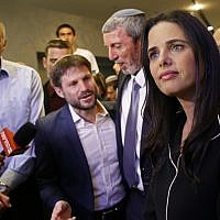 Ayelet Shaked (R), leader and candidate of the New Right party that is part of the Yamina political alliance, speaks to the press while flanked by Jewish Home candidate Moti Yogev (L), National Union party leader Bezalel Smotrich (2nd-L), and Jewish Home party leader Rafi Peretz (C) at the alliance's headquarters in Ramat Gan, September 17, 2019. (Gil Cohen-Magen/AFP)