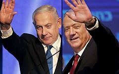 This combination picture created on September 18, 2019 shows, Benny Gantz (R), leader of the Blue and White political alliance, waving to supporters in Tel Aviv early on September 18, 2019, and Prime Minister Benjamin Netanyahu addressing supporters at his Likud party's electoral campaign headquarters in Tel Aviv early on September 18, 2019. (Emmanuel Dunand and Menahem Kahana / AFP)