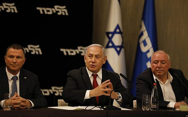 Prime Minister Benjamin Netanyahu speaks during a Likud party faction meeting in Jerusalem on September 18, 2019. (Menahem Kahana/AFP)