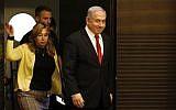Prime Minister Benjamin Netanyahu arrives to a faction meeting of his Likud party in Jerusalem on September 18, 2019. (Menahem Kahana/AFP)