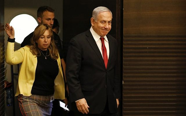 Prime Minister Benjamin Netanyahu arrives to a faction meeting of his Likud party in Jerusalem on September 18, 2019. (Menahem Kahana/AFP)