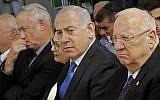 President Reuven Rivlin, right, Prime Minister Benjamin Netanyahu, center, and Blue and White leader Benny Gantz, left, at a memorial ceremony for the late president Shimon Peres, at Mount Herzl in Jerusalem on September 19, 2019. (Gil Cohen-Magen/AFP)
