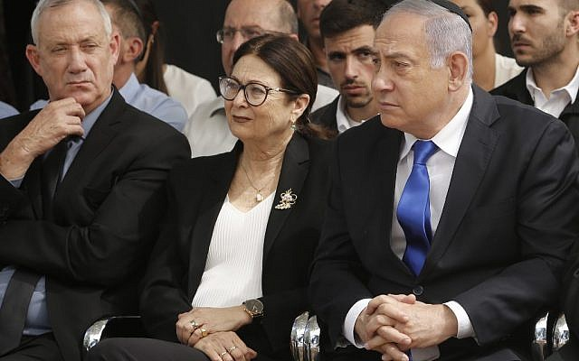 Prime Minister Benjamin Netanyahu (R), Supreme Court Chief Justice Esther Hayut (C) and Benny Gantz (L), leader of the Blue and White party, attend a memorial ceremony for late president Shimon Peres at Mount Herzl in Jerusalem on September 19, 2019. (Gil Cohen-Magen/AFP)