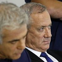 Blue and White leader Benny Gantz looks on during a press conference in the Israeli coastal city of Tel Aviv, on September 19, 2019.  (JACK GUEZ / AFP)