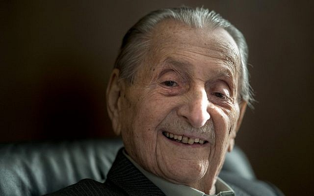 In this file photo taken on March 15, 2018 Marko Feingold, then 104-years-old, poses for a picture at the Israeli Cultural Center in Salzburg, Austria. (Joe Klamar/AFP)