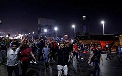 Egyptian protesters shout calling for the removal of President Abdel Fattah el-Sissi in Cairo's downtown on September 20, 2019. (STR/AFP)