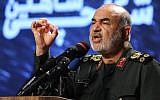 Iranian Revolutionary Guards commander Maj. Gen. Hossein Salami speaks at Tehran's Islamic Revolution and Holy Defense museum, during the unveiling of an exhibition of what Iran says are US and other drones captured in its territory, on September 21, 2019. (Atta Kenare/AFP)