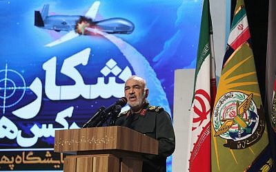 Islamic Revolutionary Guard Corps commander Maj. Gen. Hossein Salami at Tehran's Islamic Revolution and Holy Defense museum during the unveiling of an exhibition of what Iran says are US and other drones captured in its territory, in the capital Tehran on September 21, 2019. (Atta Kenare/AFP)