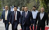 Left to right: Members of the Joint List party MKs Osama Saadi, Ayman Odeh, Ahmad Tibi and Mansour Abbas arrive for a consultation with President Reuven Rivlin on who he should task with trying to form a new government, in Jerusalem on September 22, 2019. (Menahem Kahana/AFP)