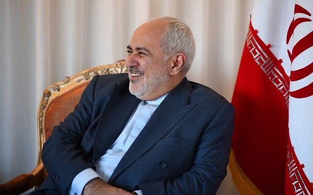 Iranian Foreign Minister Mohammad Zarif smiles as he meets French Minister of Foreign Affairs Jean-Yves Le Drian (not seen) on September 22, 2019 in New York City. (Johannes EISELE / AFP)