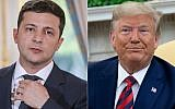 This combination photo shows Ukraine's President Volodymyr Zelensky in June 17, 2019 in Paris, and US President Donald Trump during a meeting in the Oval Office at the White House in Washington, DC, September 20, 2019. (ludovic MARIN and SAUL LOEB / AFP)
